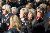 Remembrance Sunday at the Cenotaph in London 2014: Group E25 - Association of WRENS. Press stand opposite the Foreign Office building, Whitehall, London SW1, London, Greater London, United Kingdom, on 09 November 2014 at 11:53, image #765