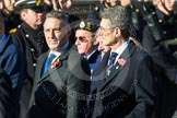 Remembrance Sunday at the Cenotaph in London 2014: Group E27 - Royal Naval Communications Association. Press stand opposite the Foreign Office building, Whitehall, London SW1, London, Greater London, United Kingdom, on 09 November 2014 at 11:53, image #792