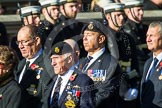 Remembrance Sunday at the Cenotaph in London 2014: Group E33 - Submariners Association. Press stand opposite the Foreign Office building, Whitehall, London SW1, London, Greater London, United Kingdom, on 09 November 2014 at 11:54, image #827