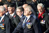 Remembrance Sunday at the Cenotaph in London 2014: Group E37 -Aircraft Handlers Association. Press stand opposite the Foreign Office building, Whitehall, London SW1, London, Greater London, United Kingdom, on 09 November 2014 at 11:54, image #854