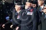 Remembrance Sunday at the Cenotaph in London 2014: Group E38 - Aircrewmans Association. Press stand opposite the Foreign Office building, Whitehall, London SW1, London, Greater London, United Kingdom, on 09 November 2014 at 11:54, image #857