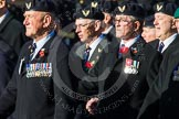 Remembrance Sunday at the Cenotaph in London 2014: Group E38 - Aircrewmans Association. Press stand opposite the Foreign Office building, Whitehall, London SW1, London, Greater London, United Kingdom, on 09 November 2014 at 11:54, image #861