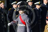 Remembrance Sunday at the Cenotaph in London 2014: An army sergeant marches in front of the next column. Press stand opposite the Foreign Office building, Whitehall, London SW1, London, Greater London, United Kingdom, on 09 November 2014 at 11:55, image #878