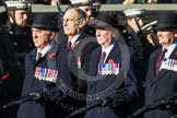 Remembrance Sunday at the Cenotaph in London 2014: Group F6 - Queen's Bodyguard of The Yeoman of The Guard. Press stand opposite the Foreign Office building, Whitehall, London SW1, London, Greater London, United Kingdom, on 09 November 2014 at 11:57, image #965