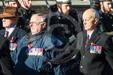 Remembrance Sunday at the Cenotaph in London 2014: Group F6 - Queen's Bodyguard of The Yeoman of The Guard. Press stand opposite the Foreign Office building, Whitehall, London SW1, London, Greater London, United Kingdom, on 09 November 2014 at 11:57, image #970