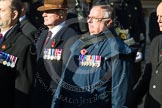 Remembrance Sunday at the Cenotaph in London 2014: Group F6 - Queen's Bodyguard of The Yeoman of The Guard. Press stand opposite the Foreign Office building, Whitehall, London SW1, London, Greater London, United Kingdom, on 09 November 2014 at 11:57, image #971