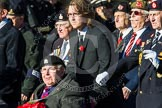 Remembrance Sunday at the Cenotaph in London 2014: Group F12- National Service Veterans Alliance. Press stand opposite the Foreign Office building, Whitehall, London SW1, London, Greater London, United Kingdom, on 09 November 2014 at 11:57, image #995