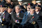 Remembrance Sunday at the Cenotaph in London 2014: Group F12- National Service Veterans Alliance. Press stand opposite the Foreign Office building, Whitehall, London SW1, London, Greater London, United Kingdom, on 09 November 2014 at 11:57, image #997
