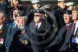 Remembrance Sunday at the Cenotaph in London 2014: Group F12- National Service Veterans Alliance. Press stand opposite the Foreign Office building, Whitehall, London SW1, London, Greater London, United Kingdom, on 09 November 2014 at 11:57, image #998