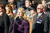 Remembrance Sunday at the Cenotaph in London 2014: Group F13 - Gallantry Medallists League. Press stand opposite the Foreign Office building, Whitehall, London SW1, London, Greater London, United Kingdom, on 09 November 2014 at 11:57, image #1005