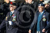 Remembrance Sunday at the Cenotaph in London 2014: Group F17 - Suez Veterans Association. Press stand opposite the Foreign Office building, Whitehall, London SW1, London, Greater London, United Kingdom, on 09 November 2014 at 11:58, image #1054