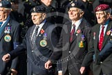 Remembrance Sunday at the Cenotaph in London 2014: Group F17 - Suez Veterans Association. Press stand opposite the Foreign Office building, Whitehall, London SW1, London, Greater London, United Kingdom, on 09 November 2014 at 11:58, image #1057