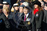 Remembrance Sunday at the Cenotaph in London 2014: Group F18 - Aden Veterans Association. Press stand opposite the Foreign Office building, Whitehall, London SW1, London, Greater London, United Kingdom, on 09 November 2014 at 11:59, image #1081