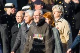 Remembrance Sunday at the Cenotaph in London 2014: Group F19 - 1st Army Association. Press stand opposite the Foreign Office building, Whitehall, London SW1, London, Greater London, United Kingdom, on 09 November 2014 at 11:59, image #1090