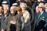 Remembrance Sunday at the Cenotaph in London 2014: Group F19 - 1st Army Association. Press stand opposite the Foreign Office building, Whitehall, London SW1, London, Greater London, United Kingdom, on 09 November 2014 at 11:59, image #1091