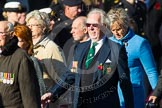 Remembrance Sunday at the Cenotaph in London 2014: Group F19 - 1st Army Association. Press stand opposite the Foreign Office building, Whitehall, London SW1, London, Greater London, United Kingdom, on 09 November 2014 at 11:59, image #1092