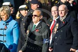 Remembrance Sunday at the Cenotaph in London 2014: Group F19 - 1st Army Association. Press stand opposite the Foreign Office building, Whitehall, London SW1, London, Greater London, United Kingdom, on 09 November 2014 at 11:59, image #1094