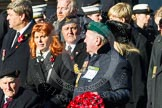 Remembrance Sunday at the Cenotaph in London 2014: Group F20 - Showmens' Guild of Great Britain. Press stand opposite the Foreign Office building, Whitehall, London SW1, London, Greater London, United Kingdom, on 09 November 2014 at 11:59, image #1101