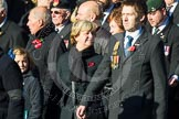 Remembrance Sunday at the Cenotaph in London 2014: Group F20 - Showmens' Guild of Great Britain. Press stand opposite the Foreign Office building, Whitehall, London SW1, London, Greater London, United Kingdom, on 09 November 2014 at 11:59, image #1108