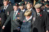 Remembrance Sunday at the Cenotaph in London 2014: Group A2 - Rifles Regimental Association. Press stand opposite the Foreign Office building, Whitehall, London SW1, London, Greater London, United Kingdom, on 09 November 2014 at 11:59, image #1110