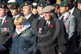 Remembrance Sunday at the Cenotaph in London 2014: Group A2 - Rifles Regimental Association. Press stand opposite the Foreign Office building, Whitehall, London SW1, London, Greater London, United Kingdom, on 09 November 2014 at 11:59, image #1111