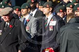 Remembrance Sunday at the Cenotaph in London 2014: Group A2 - Rifles Regimental Association. Press stand opposite the Foreign Office building, Whitehall, London SW1, London, Greater London, United Kingdom, on 09 November 2014 at 11:59, image #1112