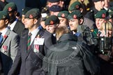 Remembrance Sunday at the Cenotaph in London 2014: Group A2 - Rifles Regimental Association. Press stand opposite the Foreign Office building, Whitehall, London SW1, London, Greater London, United Kingdom, on 09 November 2014 at 11:59, image #1113