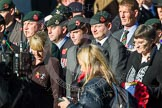 Remembrance Sunday at the Cenotaph in London 2014: Group A2 - Rifles Regimental Association. Press stand opposite the Foreign Office building, Whitehall, London SW1, London, Greater London, United Kingdom, on 09 November 2014 at 11:59, image #1115