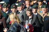 Remembrance Sunday at the Cenotaph in London 2014: Group A2 - Rifles Regimental Association. Press stand opposite the Foreign Office building, Whitehall, London SW1, London, Greater London, United Kingdom, on 09 November 2014 at 11:59, image #1116