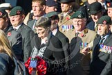 Remembrance Sunday at the Cenotaph in London 2014: Group A2 - Rifles Regimental Association. Press stand opposite the Foreign Office building, Whitehall, London SW1, London, Greater London, United Kingdom, on 09 November 2014 at 11:59, image #1117