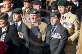 Remembrance Sunday at the Cenotaph in London 2014: Group A2 - Rifles Regimental Association. Press stand opposite the Foreign Office building, Whitehall, London SW1, London, Greater London, United Kingdom, on 09 November 2014 at 11:59, image #1118