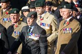 Remembrance Sunday at the Cenotaph in London 2014: Group A2 - Rifles Regimental Association. Press stand opposite the Foreign Office building, Whitehall, London SW1, London, Greater London, United Kingdom, on 09 November 2014 at 11:59, image #1119
