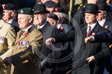 Remembrance Sunday at the Cenotaph in London 2014: Group A2 - Rifles Regimental Association. Press stand opposite the Foreign Office building, Whitehall, London SW1, London, Greater London, United Kingdom, on 09 November 2014 at 11:59, image #1120