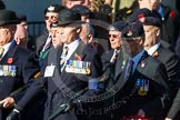 Remembrance Sunday at the Cenotaph in London 2014: Group A3 - The Rifles & Royal Gloucestershire, Berkshire & Wiltshire Regimental Association. Press stand opposite the Foreign Office building, Whitehall, London SW1, London, Greater London, United Kingdom, on 09 November 2014 at 11:59, image #1124