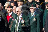 Remembrance Sunday at the Cenotaph in London 2014: Group A6 - King's Royal Rifle Corps Association. Press stand opposite the Foreign Office building, Whitehall, London SW1, London, Greater London, United Kingdom, on 09 November 2014 at 12:00, image #1143