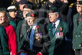 Remembrance Sunday at the Cenotaph in London 2014: Group A6 - King's Royal Rifle Corps Association. Press stand opposite the Foreign Office building, Whitehall, London SW1, London, Greater London, United Kingdom, on 09 November 2014 at 12:00, image #1148