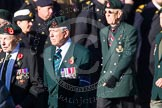 Remembrance Sunday at the Cenotaph in London 2014: Group A6 - King's Royal Rifle Corps Association. Press stand opposite the Foreign Office building, Whitehall, London SW1, London, Greater London, United Kingdom, on 09 November 2014 at 12:00, image #1149