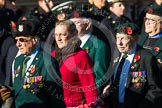 Remembrance Sunday at the Cenotaph in London 2014: Group A6 - King's Royal Rifle Corps Association. Press stand opposite the Foreign Office building, Whitehall, London SW1, London, Greater London, United Kingdom, on 09 November 2014 at 12:00, image #1151
