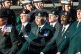 Remembrance Sunday at the Cenotaph in London 2014: Group A9 - Royal Green Jackets Association. Press stand opposite the Foreign Office building, Whitehall, London SW1, London, Greater London, United Kingdom, on 09 November 2014 at 12:01, image #1168