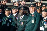 Remembrance Sunday at the Cenotaph in London 2014: Group A9 - Royal Green Jackets Association. Press stand opposite the Foreign Office building, Whitehall, London SW1, London, Greater London, United Kingdom, on 09 November 2014 at 12:01, image #1169