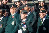 Remembrance Sunday at the Cenotaph in London 2014: Group A9 - Royal Green Jackets Association. Press stand opposite the Foreign Office building, Whitehall, London SW1, London, Greater London, United Kingdom, on 09 November 2014 at 12:01, image #1170