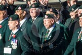 Remembrance Sunday at the Cenotaph in London 2014: Group A9 - Royal Green Jackets Association. Press stand opposite the Foreign Office building, Whitehall, London SW1, London, Greater London, United Kingdom, on 09 November 2014 at 12:01, image #1171