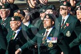 Remembrance Sunday at the Cenotaph in London 2014: Group A9 - Royal Green Jackets Association. Press stand opposite the Foreign Office building, Whitehall, London SW1, London, Greater London, United Kingdom, on 09 November 2014 at 12:01, image #1172