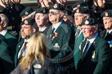 Remembrance Sunday at the Cenotaph in London 2014: Group A9 - Royal Green Jackets Association. Press stand opposite the Foreign Office building, Whitehall, London SW1, London, Greater London, United Kingdom, on 09 November 2014 at 12:01, image #1173