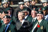 Remembrance Sunday at the Cenotaph in London 2014: Group A9 - Royal Green Jackets Association. Press stand opposite the Foreign Office building, Whitehall, London SW1, London, Greater London, United Kingdom, on 09 November 2014 at 12:01, image #1174