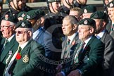 Remembrance Sunday at the Cenotaph in London 2014: Group A9 - Royal Green Jackets Association. Press stand opposite the Foreign Office building, Whitehall, London SW1, London, Greater London, United Kingdom, on 09 November 2014 at 12:01, image #1175