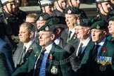 Remembrance Sunday at the Cenotaph in London 2014: Group A9 - Royal Green Jackets Association. Press stand opposite the Foreign Office building, Whitehall, London SW1, London, Greater London, United Kingdom, on 09 November 2014 at 12:01, image #1176