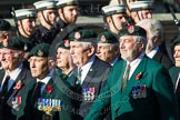 Remembrance Sunday at the Cenotaph in London 2014: Group A9 - Royal Green Jackets Association. Press stand opposite the Foreign Office building, Whitehall, London SW1, London, Greater London, United Kingdom, on 09 November 2014 at 12:01, image #1177