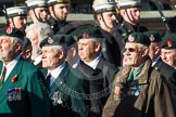 Remembrance Sunday at the Cenotaph in London 2014: Group A9 - Royal Green Jackets Association. Press stand opposite the Foreign Office building, Whitehall, London SW1, London, Greater London, United Kingdom, on 09 November 2014 at 12:01, image #1179