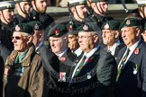 Remembrance Sunday at the Cenotaph in London 2014: Group A9 - Royal Green Jackets Association. Press stand opposite the Foreign Office building, Whitehall, London SW1, London, Greater London, United Kingdom, on 09 November 2014 at 12:01, image #1180